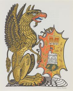 «The Griffin of Edward III», Lithograph by Edward Bawden, from 'The Queen's Beasts' (1954).