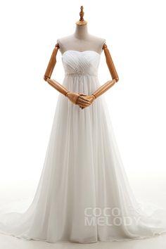 Noble Sheath-Column Sweetheart Natural Chapel Train Chiffon Ivory Sleeveless Lace Up-Corset Wedding Dress Beading Pleating LD1401 #weddingdresses #cocomelody