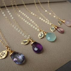 Bridesmaids Necklaces SET of FOUR  and Initial by bridegirls, $116.00