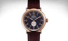 """Shinola Men's """"Runwell"""" Rose Gold Case with Oxblood Leather Strap - Kravit Jewelers Shinola Runwell, High End Watches, Nice Watches, Elegant Watches, Stylish Watches, Wrist Watches, Gold Watches, Cheap Watches, Casual Watches"""