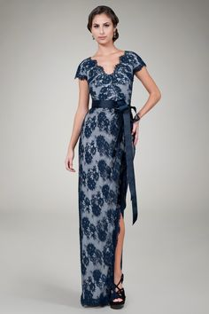 Cap Sleeve Lace Gown in Navy / Silver - Evening Gowns - Evening Shop | Tadashi Shoji
