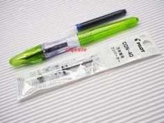 6 Black Cartridges Pilot Pluminix Calligraphy Fountain Pen Light Green Broad