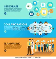 Flat design concept marketing integrate collaboration and teamwork for working together. Vector Illustrate - stock vector