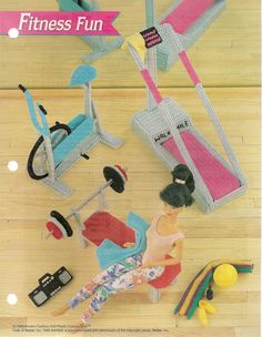 Fitness Fun Accessories, Annies plastic canvas patterns fit Barbie doll in Crafts, Needlecrafts & Yarn, Needlepoint & Plastic Canvas Plastic Canvas Crafts, Plastic Canvas Patterns, Barbie Accessories, House Accessories, Barbie Furniture, Dollhouse Furniture, Barbie Patterns, Barbie Dolls, Barbie Stuff