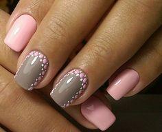 лунный серо-розовый маникюр, маникюр с серым и розовым лаком, маникюр в серо-розовом цвете