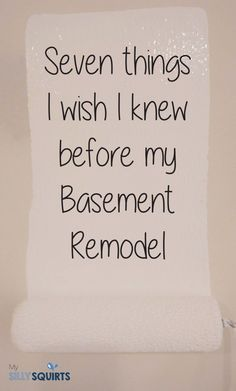 Seven things I wish I knew before my home basement remodel We just finished our basement remodel. We learned a lot and now we're passing our wisdom to you. Here's seven things we learned. Cheap Basement Remodel, Old Basement, Basement Layout, Modern Basement, Basement Laundry, Basement House, Basement Makeover, Basement Bedrooms, Basement Renovations