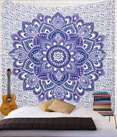 Blue Purple Flower Tapestry                              …