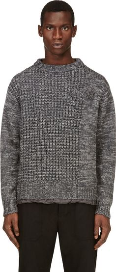 Sacai - Grey Marled Knit Sweater | SSENSE