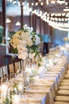 Classic wedding centerpiece idea - tall wedding centerpiece - white floral and greenery arrangements {Christina Logan Design}