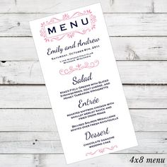 DIY Wedding Menu Printable - Crystal Design - currently shown in Coral and Navy