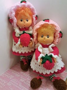 """Lot of 2 Vintage 1980s Crocheted Handmade """"Strawberry Shortcake"""" Dolls! Excellent, Like New Condition! Gift-Giving... 13in. Tall- Must See! by OneVintageJunky on Etsy"""