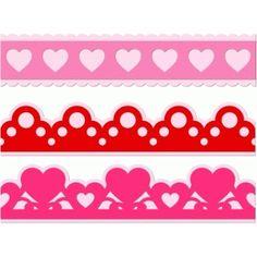 Silhouette Design Store - View Design #54501: 3 heart borders