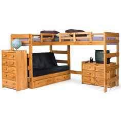 Found it at Wayfair - Chelsea Home Twin Storage L-shaped Futon Triple Bunk Bed Customizable Bedroom Set
