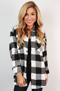 This classic flannel button down is the perfect addition to your fall wardrobe! It looks perfect with jeans and boots, so don't hesitate before you get it in all four colors!