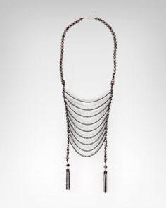 Waist length layered fringe necklace