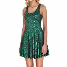 Mermaid scale holographic dress is flirty and fun, stretchy and sexy! This dress…