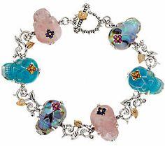 """Barbara Bixby Sterling & 18K Gemstone Skull 8"""" Bracelet"""