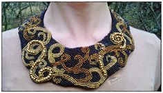 "Bead embroidery, necklace, brown-gold-black, gothic, ""Gold Tsarina"" Papagena - handmade zone"