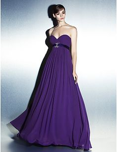 Formal Evening Dress A-line Sweetheart Floor-length Georgette Dress – USD $ 99.99