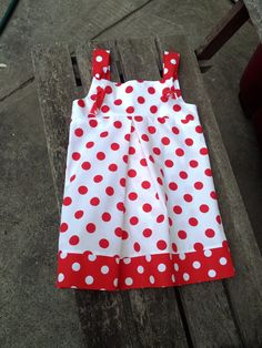 Cute Girls Dress Red White Polka Dot Dress Toddler by GrannyJack, $35.00