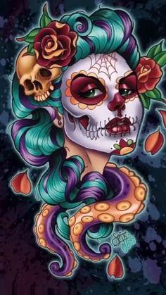 Skull Girl Tattoo, Sugar Skull Tattoos, Cartoon Kunst, Cartoon Art, Cartoon Faces, Art And Illustration, Fantasy Kunst, Fantasy Art, La Muerte Tattoo