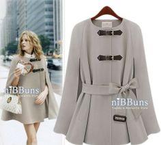 Womens Celeb Elegant Wool Blend Slim Fit Belted Poncho Cape Coat Peacoat Jacket | eBay