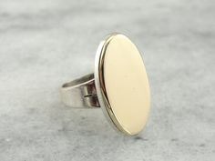 Long Sterling Silver and Fine Gold Ladies Ring by MSJewelers