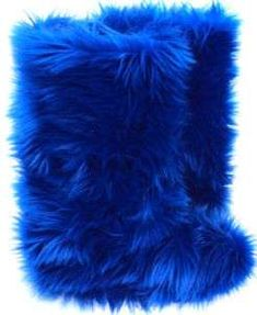 Navy Blue Faux Fur Boots   Fluffy Fuzzy Boots