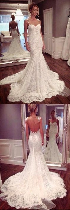 Strap Sweetheart Backless Mermaid Lace Wedding Dress Ball Gown