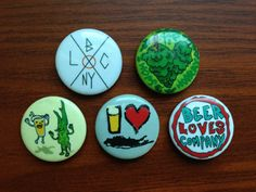 Rad Craft Beer Buttons Custom Set of Five 1 by BeerLovesCompany, $5.00