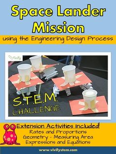 STEM Space Lander Math & Engineering Activity (Ratios & Algebra) - The Best Space Activities Ideas For Kids Engineering Design Process, Engineering Projects, Stem Projects, Engineering Science, Science Projects, Space Activities For Kids, Steam Activities, Science Activities, Science Classroom