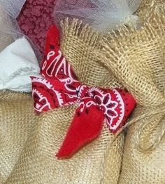 10 Burlap Gift Bags Red Bandana Ties Wedding Party Favors Outdoor wedding, western theme party, summer wedding,  by DottiesWeddings, $14.50