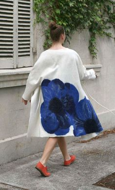 Felted Coat. Wool summer Coat. Handmade Merino Coat. Luxury item. Exclusive Design Coat. Felt outerwear. Felted Fashion Coat. Ladies Coat Handmade Boho Wool Summer Felted Coat. This Exclusive Design Coat is made from very warm and soft merino wool. This Boho Coat made the technique