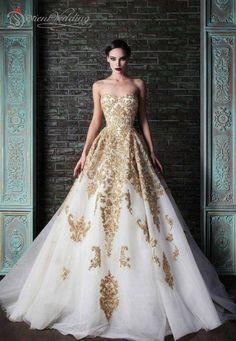 Don's Bridal Princess Gold Appliques Plus size A line Wedding Dresses robe de courte vestido longo
