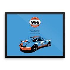 Porsche 964 - Framed Poster 18x24