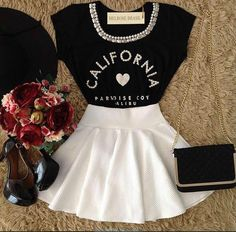 Cute little outfit Girly Outfits, Skirt Outfits, Trendy Outfits, Cute Fashion, Teen Fashion, Fashion Outfits, Womens Fashion, Cute Dresses, Short Dresses