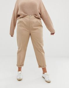 Find the best selection of ASOS DESIGN Curve chino pants. Shop today with free delivery and returns (Ts&Cs apply) with ASOS! Khaki Pants Outfit, Beige Outfit, Brown Outfit, Plus Size Khaki Pants, Plus Size Peplum, Plus Size Fall Outfit, Plus Size Outfits, Simple Outfits, Casual Outfits