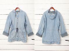 1980's Men Light Blue Denim Hooded Coat  / Size L by CoverVintage, $32.00