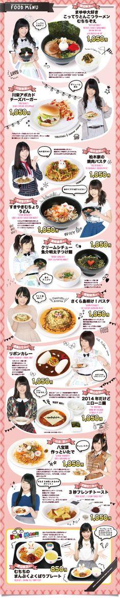 New AKB48 cafe Menu - Watanabe Mayu, Kawaei Rina, Kashiwagi Yuki,Nakanishi Chiyori, Shimazaki Haruka, Miyawaki Sakura, Takahashi Minami, Yokoyama Yui, Yamamoto Sayaka, Kizaki Yuria andWatanabe Mayu (Kids Menu)