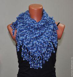 Купить Бактус с бахромой - шарф, шарф женский, шарф вязаный, Вязание крючком, зимний шарф
