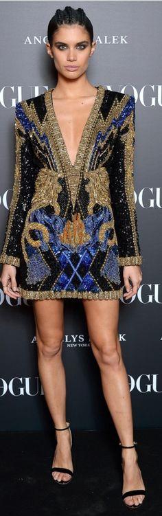 Who made Sara Sampaio's sequin and beaded dress?