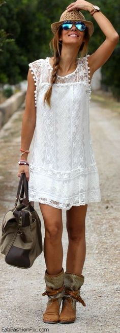 Summer look with boho chic white dress