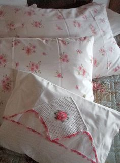 Guest Room Linens (this reminds me of my Grandmother, she would crochet doilies & linen appliques)
