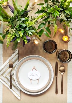 Rose-gold is all the hype these days. To stick with the Thanksgiving theme, make a wishbone out of armature wire and use as a table setting.