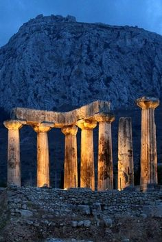 Temple of Apollo at dusk, Ancient Corinth, Greece | by VoltaStoLoutraki