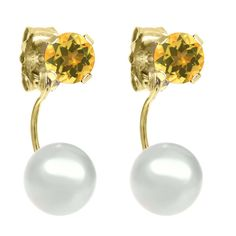 Round 4mm Yellow Citrine 14K Yellow Gold Stud Cultured Freshwater Pearl Earrings. This item is proudly custom made in the USA. 100% Satisfaction Guaranteed. Gemstones may have been treated to improve their appearance or durability and may require special care.