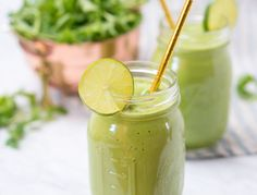 """Green smoothies are one of my absolute favorite breakfasts. This one has loads of benefits packed into a single glass. It's filled with complete protein from the hulled hemp seeds, my all-natural """"protein powder"""" of choice, and skin-nourishing, filling fat from the avocado. Combined with the fibrous leafy greens, this will keep you full well through lunch. Cilantro, one of my favorite herbs to use when I'm trying to cleanse, is what's known as a chelator, meaning that it helps to remove…"""