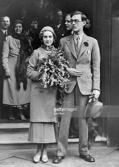 Prince Lennart Of Sweden Marries At A London Register Office. Prince Lennart of Sweden was married at the princes row register office, London, to Miss Karin Nissvandt, daughter of a Stockholm business man. He announced his royal rank and titles on his marriage and became plain Mr. Bernadotte. The wedding is in defiance of the ban placed upon it by the King of Sweden. Photo shows the bride and groom leaving the register office watched by a huge crowd.