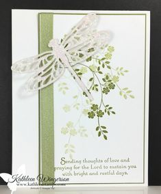 Sympathy Card showcasing Thoughts & Prayers stamp set and Detailed Dragonfly Thinlits Dies from Stampin' Up!