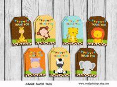 Jungle Thank you Tags Safari Gift Favors por TheLovelyDesigns